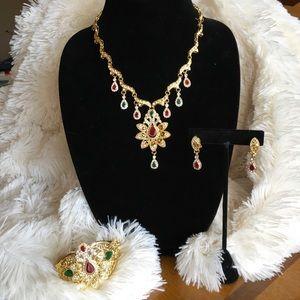 Bollywood Gold Necklace Earring Bracelet Ring Set